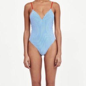 Zara Blue & White Striped One Piece Swimsuit SZ M